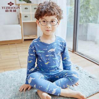 俞兆林(YUZHAOLIN)儿童内衣 男女童纯棉秋衣秋裤睡衣宝宝莱卡棉家居服小孩棉毛衫套装 满印恐龙 110