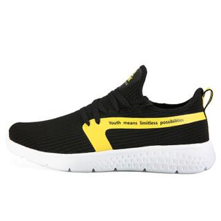 匹克(PEAK)男鞋舒适健步休闲鞋轻便耐磨运动鞋 DE910411 黑色/柠檬黄 41码