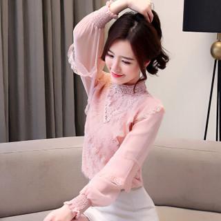 堡晟 2019春夏新款女装新品雪纺衫时尚韩版超仙洋气蕾丝衫灯笼长袖淑女上衣 zx5462-8586 粉色 S