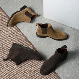 J.ZAO 京东京造 男士套脚平跟短筒反绒牛皮切尔西靴 深棕40