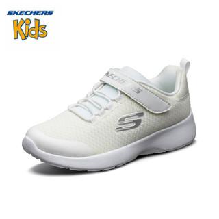 斯凯奇(SKECHERS)儿童鞋 2019秋季新款 简约轻便学院鞋 透气网布运动休闲鞋664091L 白色-WHT 01Y/32码