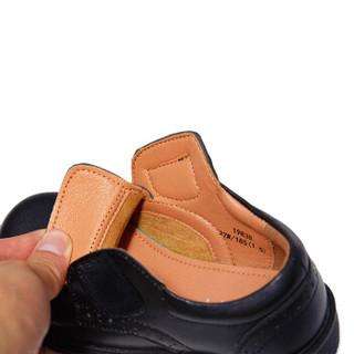斯纳菲童鞋男童皮鞋新款黑色学生演出鞋真皮儿童单鞋19838黑色37