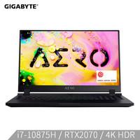 技嘉GIGABYTE AERO 17 4K HDR WB 17.3英寸轻薄创意设计游戏本(i7-10875H RTX2070 8G 512GSSD)RP77