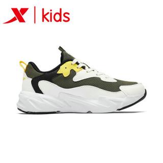 特步童鞋 2019新款时尚儿童老爹鞋软底男童休闲鞋小学生运动鞋 681315329313 白绿黄 38