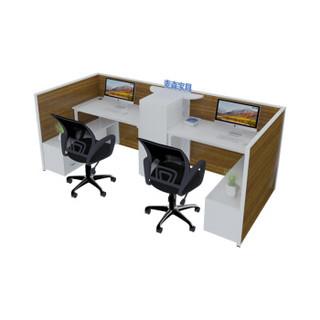 麦森(maisen)员工位 双人职员屏风钢制办公桌 办公家具组合工位 1.5米胡桃木色带侧柜可定制 MS-PF-127