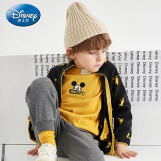迪士尼 Disney 童装男童宝宝针织外套小孩上衣潮酷摇粒绒2019秋 DA931IE06 黑底黄米奇 100