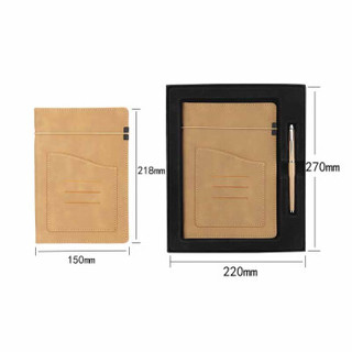 信发(TRNFA)商务礼品二件套棕色 绑带收纳笔记本笔 A5时尚办公记事本子工作会议记录本定制LOGO