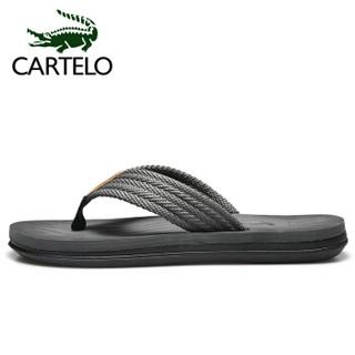 卡帝乐鳄鱼 CARTELO 人字拖鞋男士夹脚户外沙滩加厚防滑透气休闲百搭款 MX9075-29 灰色 44