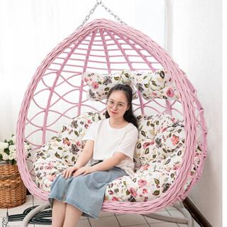 紫叶(ziye)双人吊椅吊篮欧式懒人摇篮椅室内吊床户外阳台摇椅成人双杆吊篮藤椅 白色