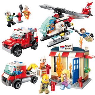 (ENLIGHTEN)启蒙积木拼装消防系列立体拼插儿童男孩玩具新消防4款合集2811