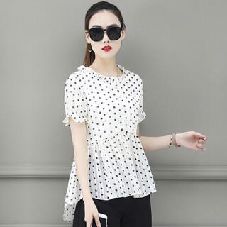 沫欣 夏季新品女装雪纺衫女韩版甜美薄款波点收腰显瘦洋气短袖雪纺衬衫 REBllyzfs-A797C8 白色 XL
