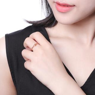 赛菲尔 18K金戒指女款 玫瑰金钻石皇冠女戒 女王女神520礼物送女友 11#