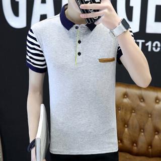 金盾(KIN DON)T恤 2019夏季新款短袖t恤男装韩版修身青年翻领半袖polo衫 F2001-LG1611 灰色 M