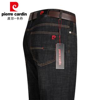 皮尔卡丹pierre cardin 牛仔裤男水洗修身弹力舒适时尚休闲直筒长裤子P1901黑色33码(2.6尺)