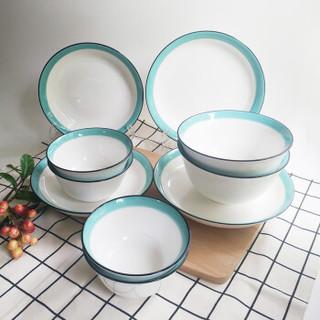 瓷时尚陶瓷碗碟套装北欧北海之恋创意2-4人简约10头餐具套装家用微波炉可用