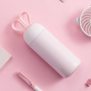 名创优品(MINISO) 男女士时尚便携杯子耳兔提绳保温杯350ml 粉色