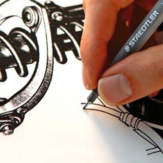 德国施德楼(STAEDTLER)针管笔0.7mm耐水防水勾线笔绘图笔勾边笔金属笔单支装30807-9