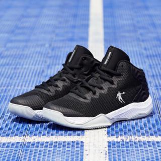 乔丹 篮球鞋网面透气减震实战战靴中帮男篮球鞋 XM2580105 黑色/白色 42.5