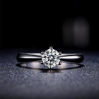 鸣钻国际 PT950铂金钻戒女 50分 白金钻石戒指结婚求婚女戒 情侣对戒女款 六爪皇冠 F-G/SI 14号