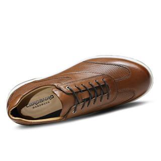 卡丹路  商务休闲简约百搭系带舒适轻质皮鞋男 SC1985001 棕色 39