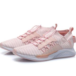 李宁 LI-NING 2019新品女子一体织减震回弹潮流休闲鞋AGLP072-1 盐粉色/标准白 37