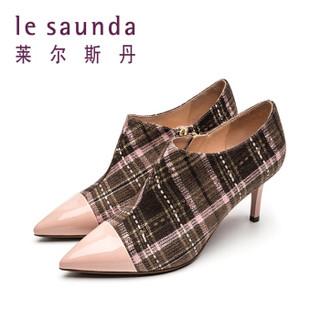 莱尔斯丹 le saunda 时尚休闲尖头拉链拼色格子纹高跟女脚踝短靴 LS 9T67001 粉棕色织物/粉色牛皮革 36