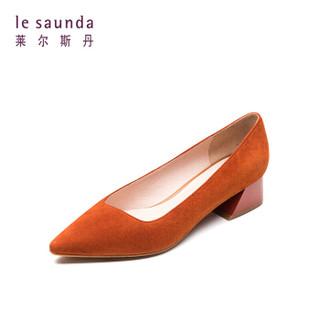 莱尔斯丹 le saunda 时尚优雅通勤尖头套脚中跟女单鞋LS AM32703 驼色 34