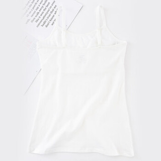 爱莉儿欧萝拉带胸垫吊带背心内搭打底百搭少女学生女大童文胸一体式内衣外穿休闲纯白色长背心 X6116-白 M