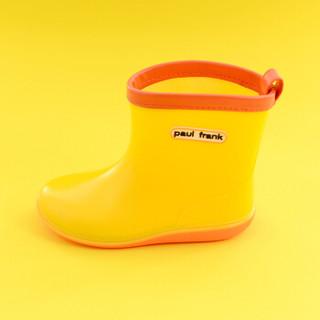 PaulFrank 大嘴猴卡通可爱防滑低帮耐磨儿童雨鞋 PFR201 字母黄色 28
