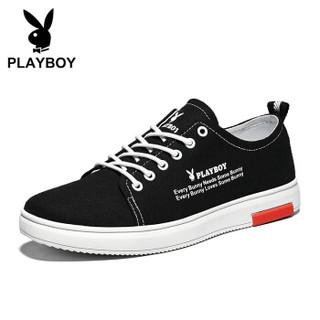 花花公子(PLAYBOY)韩版时尚经典百搭帆布鞋男低帮系带 PL611034 黑色 43