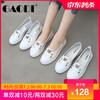 高蒂小白鞋女浅口平底板鞋子女学生韩版透气百搭运动休闲女鞋 白色(2孔) 38