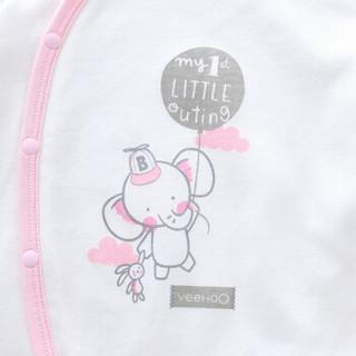 英氏婴儿爬服长袖 新生儿连体衣纯棉哈衣  174811 白色 66cm