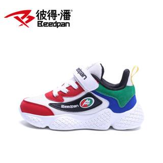 彼得潘儿童男春季新款网鞋透气休闲男童运动鞋子P6159 白红 34码/内长21.8cm