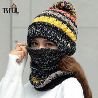 Tsful帽子女秋冬季韩版保暖毛线帽甜美可爱冬季骑车护耳加厚防寒针织帽月子帽口罩围脖帽子套装 CM3002B黑色