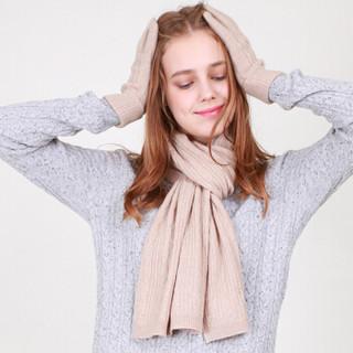 雪莲(SNOW LOTUS)针织羊绒围巾女纯山羊绒围巾男学生秋冬纯色欧美百搭简约针织围巾  170*30 驼色