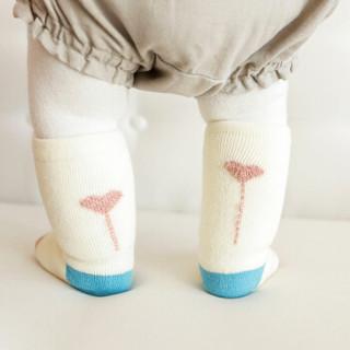 馨颂婴儿毛圈地板袜三双装秋冬防滑新生儿中筒袜宝宝家居袜子套装 白色+灰色+粉色 12-14(S)(0-6个月)