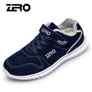 零度(ZERO)男女款防滑减震中老年运动户外加绒保暖老人健步休闲爸爸鞋 K85502 深蓝 45