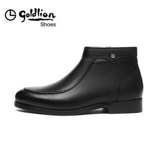 金利来(goldlion)男士都市正装时尚英伦休闲舒适保暖靴子58284010201A-黑色-39码