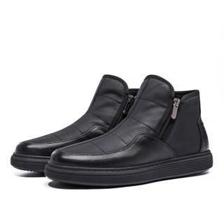 高尔夫(GOLF)英伦时尚休闲拉链套脚棉鞋男牛皮短筒加绒保暖潮流雪地靴男 GM1804291A 黑色加绒 41