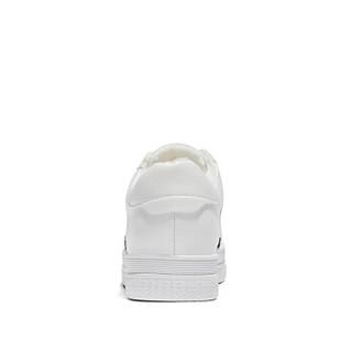 森马 Senma 韩版厚底百搭休闲运动学生系带低帮保暖加绒小白鞋女 M128118832 白黑色 38码