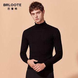 Brloote/巴鲁特 男士纯羊毛衫时尚休闲竖条纹针织衫男冬季高领羊毛打底衫 宝蓝 165/88A