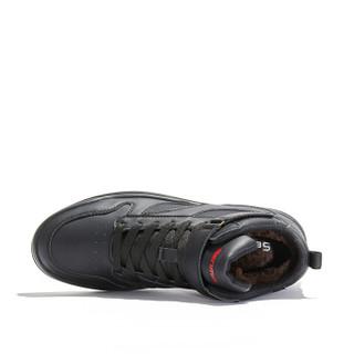 森马 Senma 简约时尚百搭韩版休闲鞋加绒保暖魔术贴英伦高帮情侣男靴 M718415060 黑色 38码