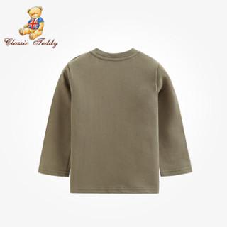 精典泰迪Classic Teddy童装自营儿童T恤男女童套头时尚上衣休闲运动外出服秋季新品 纯色小印花-橄榄色 120