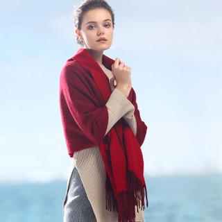 恒源祥羊毛围巾女士秋冬季双面加厚保暖长款大披肩纯色韩版围脖两用送礼 50MB1821 酒红大红