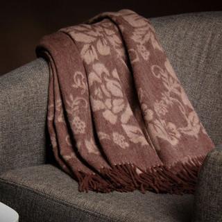 恒源祥羊毛围巾女士提花大披肩秋冬季保暖大方巾双面加长加厚送礼 50MB1802 驼