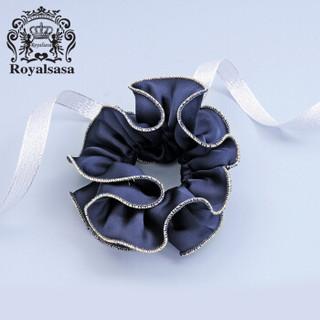 皇家莎莎(Royalsasa)大花朵布艺发圈韩版盘发头花发绳发饰扎马尾皮筋头绳头饰品 蓝色