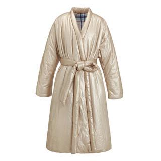 设计师品牌 HAIZHENWANG  金色杜邦棉系带长款棉衣 金色 M