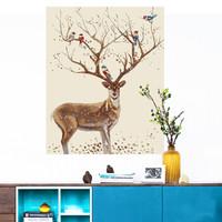 墨斗鱼 diy数字油画8397鹿与鸟儿40*50cm 填色画手绘油彩客厅风景手工添色装饰画填充上色动物油画