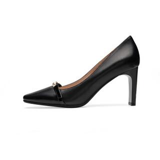莱尔斯丹 le saunda 时尚豹纹珍珠饰物方头套脚高跟女单鞋 LS 9T80102 黑色 38