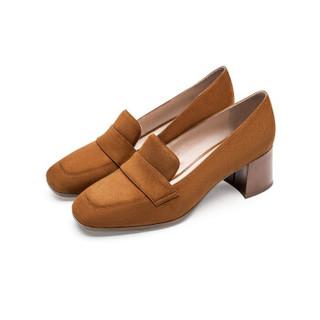 莱尔斯丹 le saunda 时尚优雅通勤OL职业复古圆头套脚高跟女单鞋 LS 9T58501 驼色 36